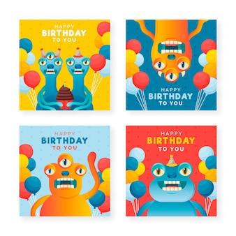Colección de tarjetas de feliz cumpleaños