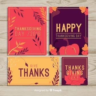 Colección de tarjetas de feliz día de acción de gracias