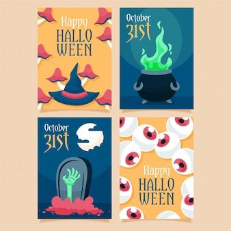 Colección de tarjetas de feliz halloween