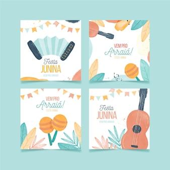 Colección de tarjetas festa junina en acuarela pintadas a mano