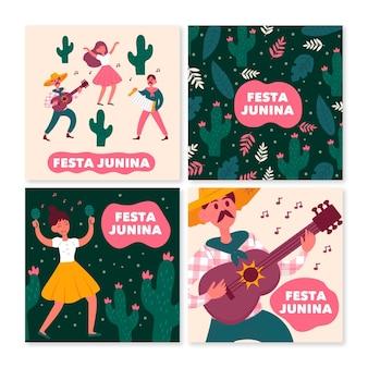 Colección de tarjetas de festa junina dibujadas a mano