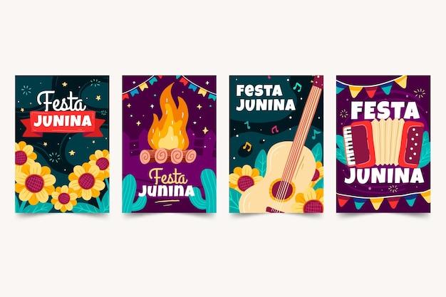 Colección tarjetas festa junina dibujadas a mano