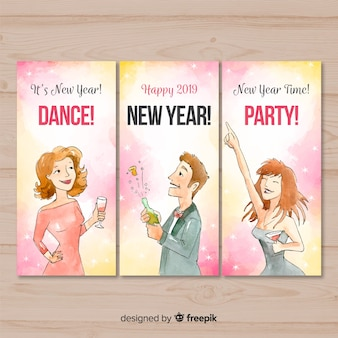 Colección tarjetas fiesta año nuevo gente elegante