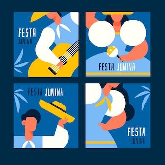 Colección tarjetas flat festa junina