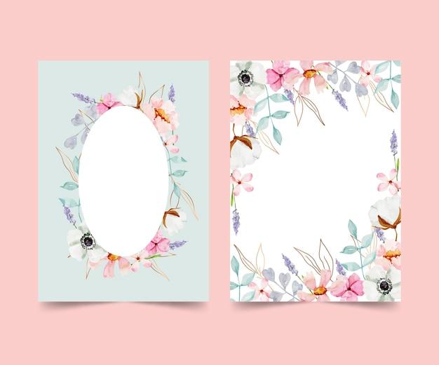 Colección de tarjetas florales en acuarela pintadas a mano