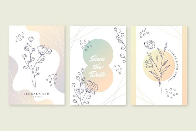 Colección de tarjetas florales con degradado