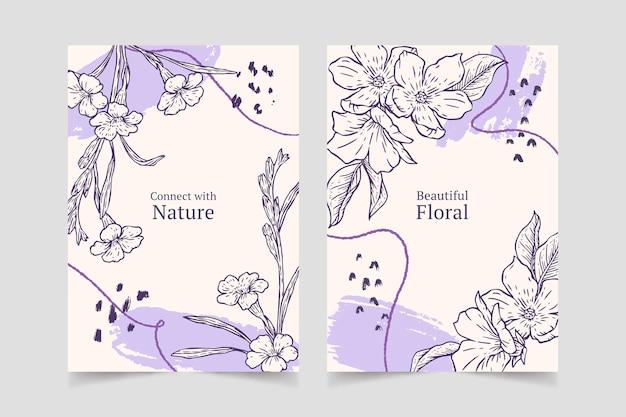 Colección de tarjetas florales dibujadas a mano de grabado