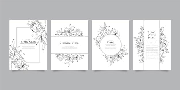 Colección tarjetas florales dibujadas a mano vector gratuito