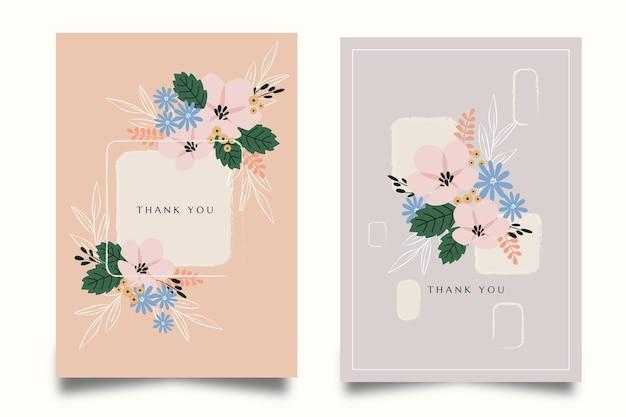 Colección de tarjetas florales planas