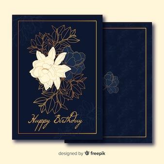 Colección de tarjetas de flores doradas