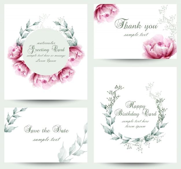 Colección de tarjetas de flores de peonía acuarela