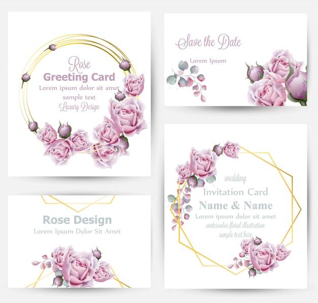Colección de tarjetas de flores rosas de acuarela.