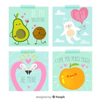 Colección tarjetas frutas y animales dibujados a mano san valentín