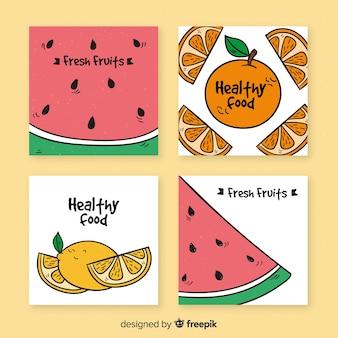 Colección de tarjetas de frutas frescas saludables