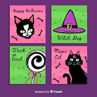 Colección de tarjetas de gato de halloween dibujadas a mano