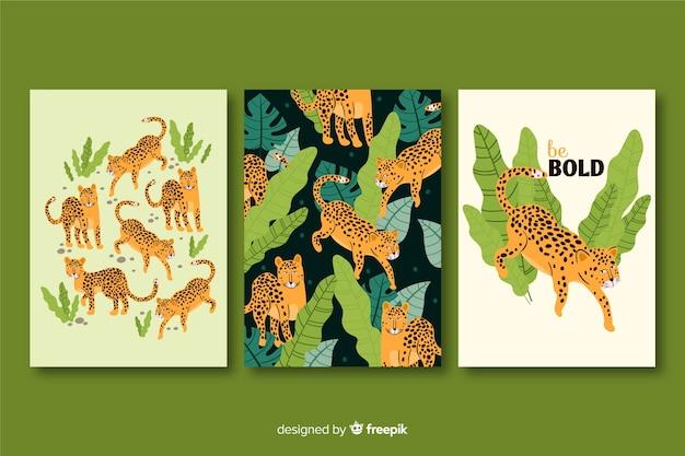 Colección de tarjetas de guepardo dibujados a mano