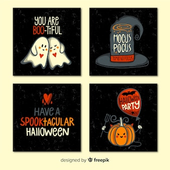 Colección de tarjetas de halloween con citas