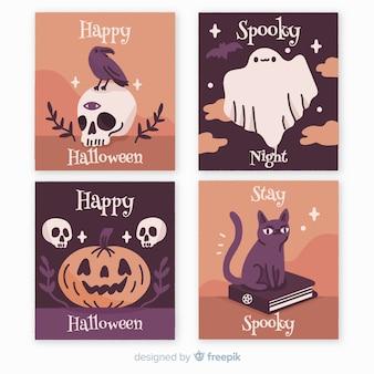 Colección de tarjetas de halloween dibujadas a mano con personajes festivos
