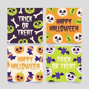 Colección de tarjetas de halloween dibujadas a mano