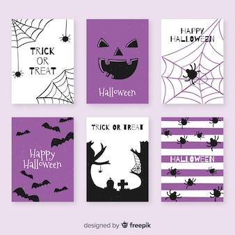 Colección de tarjetas de halloween dibujado a mano