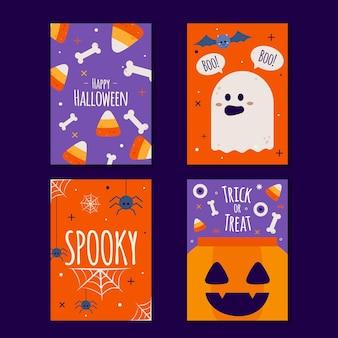 Colección de tarjetas de halloween de diseño dibujado a mano