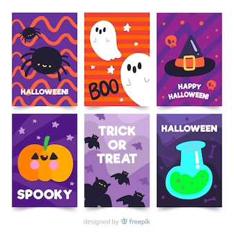 Colección de tarjetas de halloween en diseño plano