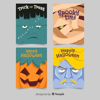 Colección de tarjetas de halloween de diseño plano