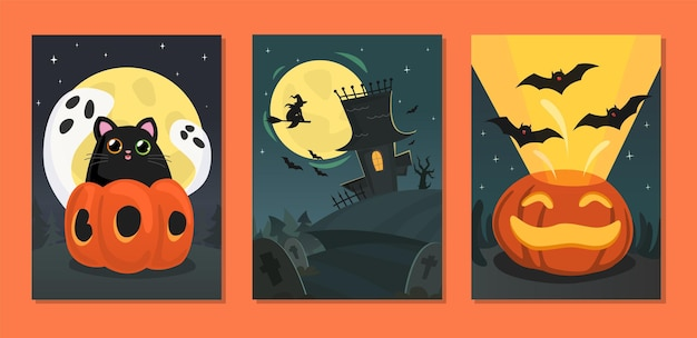 Colección de tarjetas de halloween con gato de calabazas y con casa