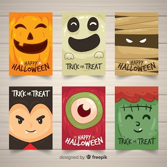 Colección de tarjetas de halloween con monstruos divertidos