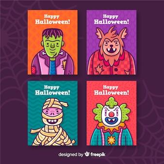 Colección de tarjetas de halloween sobre fondo violeta con telaraña