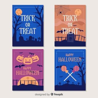 Colección de tarjetas de halloween de truco o trato