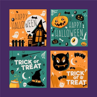 Colección de tarjetas de halloween