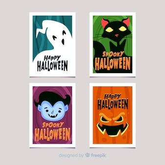 Colección de tarjetas hallowen en diseño plano