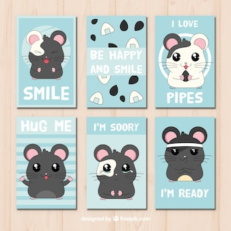 Colección de tarjetas de hamster