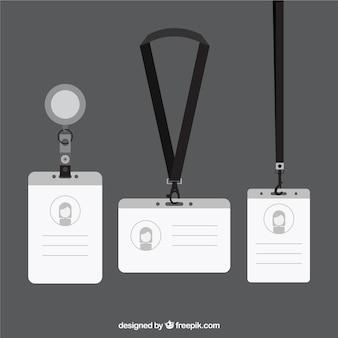 Colección de tarjetas de identificación planas con enganches y cordones