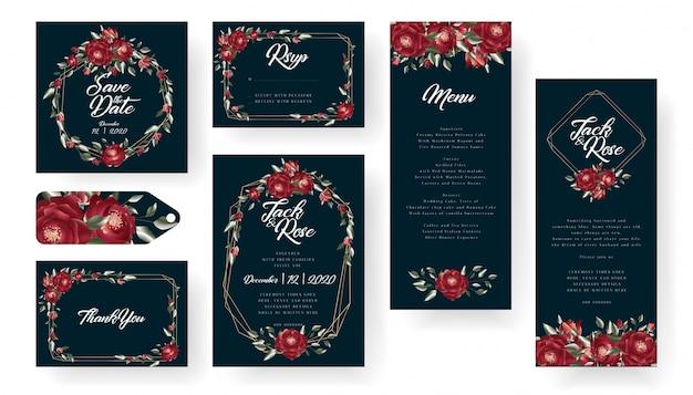 Colección de tarjetas de invitación de boda de borgoña