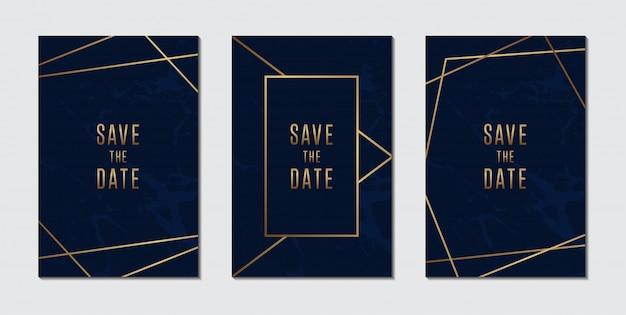 Colección de tarjetas de invitación de boda de lujo azul