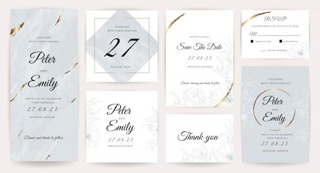Colección de tarjetas de invitación de boda de lujo.