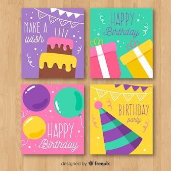 Colección De Tarjetas De Invitación De Cumpleaños Dibujadas