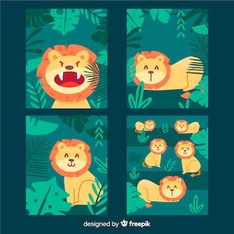 Colección de tarjetas de león dibujadas a mano