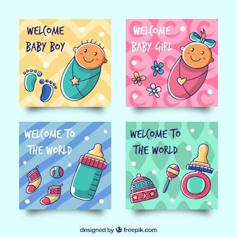 Colección de tarjetas con lindos bebés