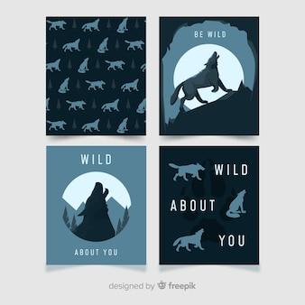 Colección tarjetas lobo diseño plano