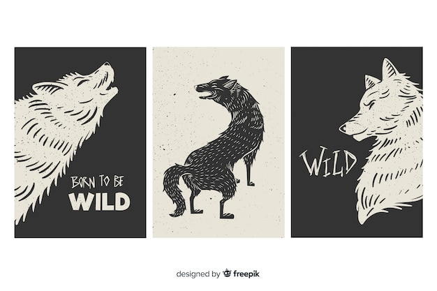 Colección de tarjetas con lobos salvajes, blanco y negro