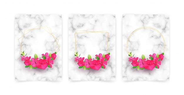 Colección de tarjetas de lujo con textura de mármol.