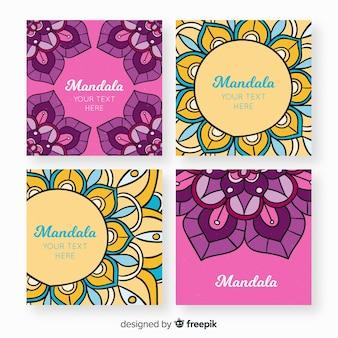 Colección de tarjetas de mandala dibujados a mano