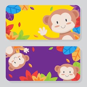 Colección de tarjetas mono lindo
