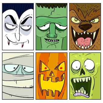 Colección de tarjetas de monstruos de halloween dibujados a mano