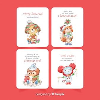 Colección de tarjetas de navidad en acuarela