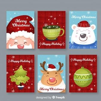 Colección de tarjetas de navidad dibujada a mano