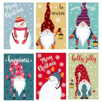 Colección de tarjetas de navidad con muñeco de nieve y gnomos. etiquetas. pegatinas
